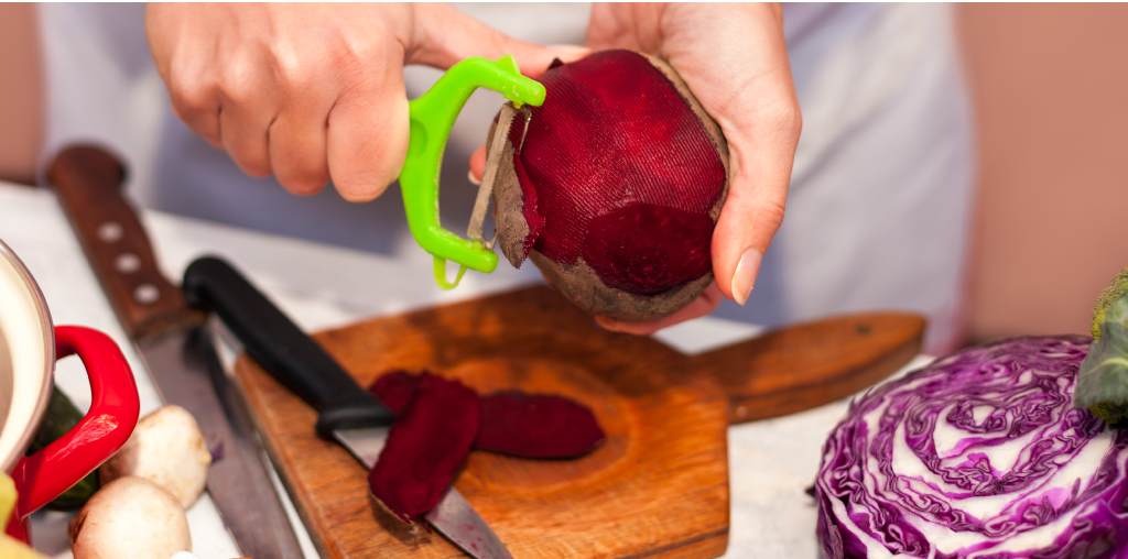 Beets and red cabbage being prepared.