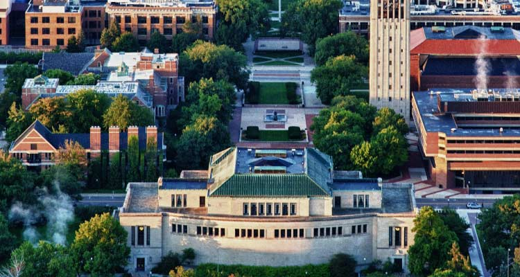 An aerial view of the University of Michigan campus.