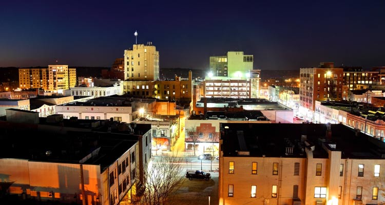 A night shot of Ann Arbor.