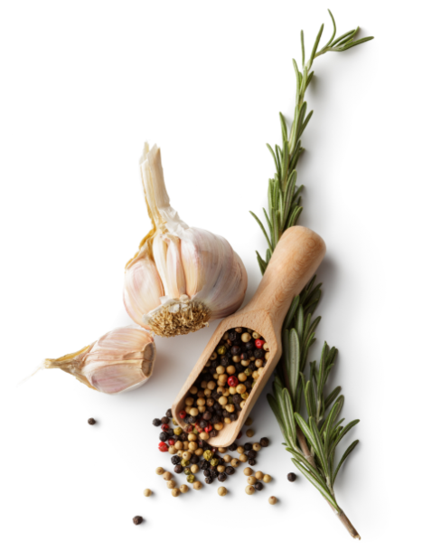A head of garlic, peppercorns in a scoop, and a sprig of rosemary