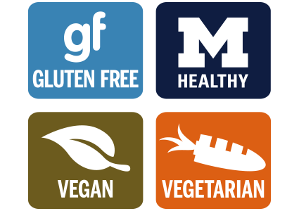 Look for menu labels to find gluten free, vegetarian, and MHealthy offerings.