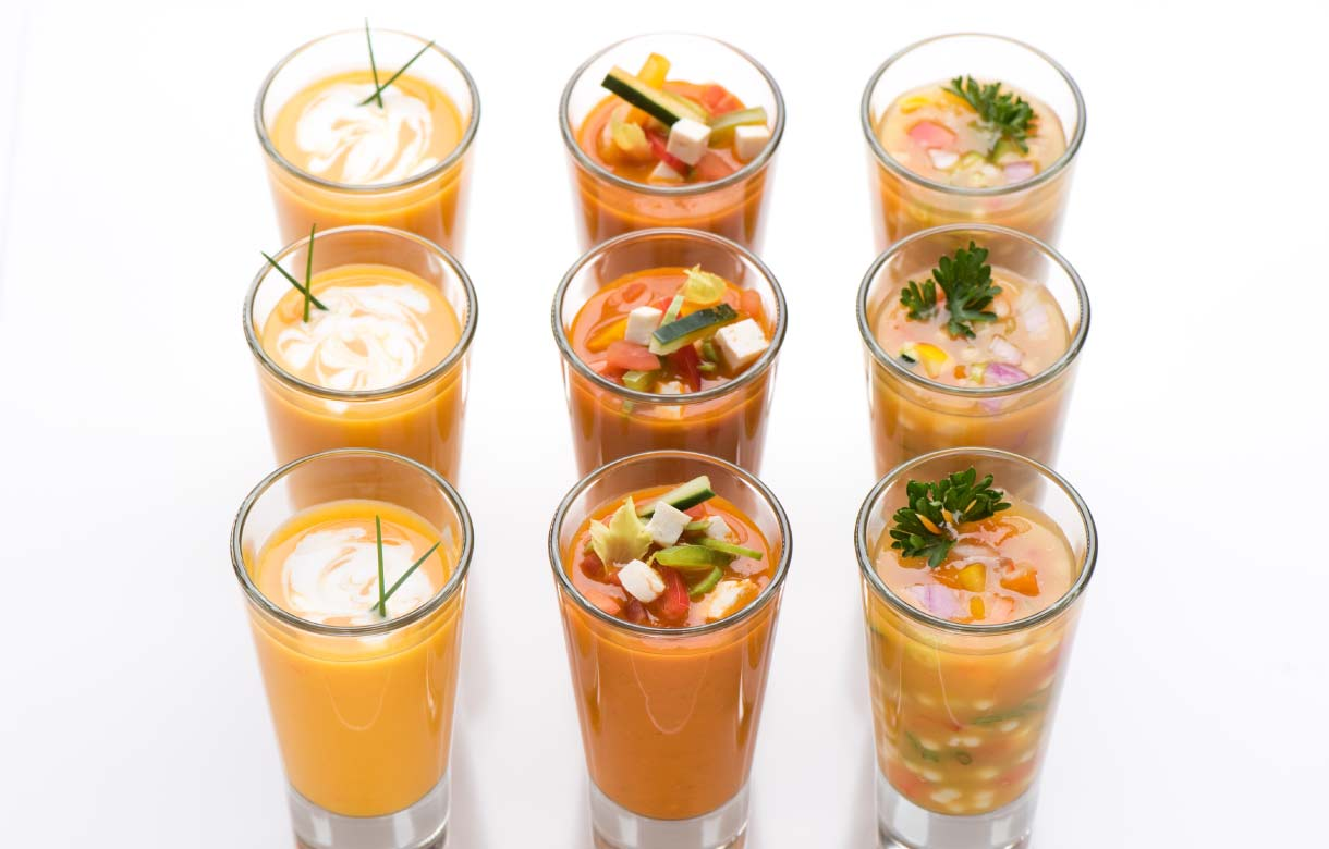 Three different kinds of soup shooters.