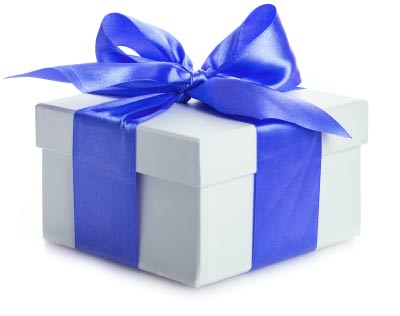 A white gift wrapped in blue ribbon.