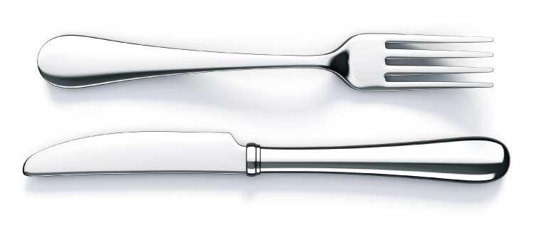 Sideways knife and fork.